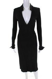 Diane Von Furstenberg Womens Long Sleeve Collared Wrap Dress Black Size 2