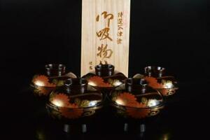 P6941: Japanese Wooden Lacquer ware  TEA BOWL/dish of soup with the lid 5pcs
