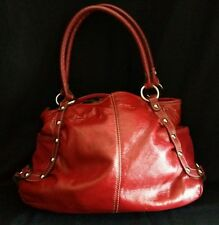Kathy Van Zeeland Red Handbag With Silver Stud Accents and Leopard Lining