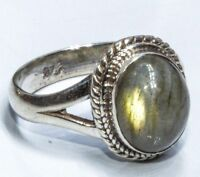 Sterling Silver Ethnic Asian Vintage Style Labradorite Stone Ring Size L1/2 Gift