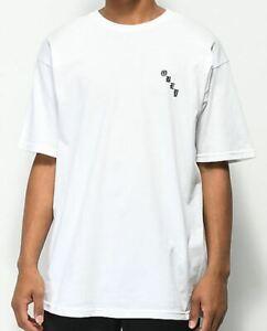 OBEY con Aerórafo Rosa Hombre 100% Algodón Premium Camiseta Mediano Blanco Nuevo