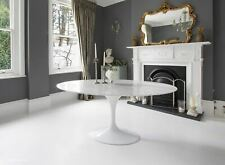 170cm x 110cm Oval White Carrara Marble Tulip Table - designed by Eero Saarinen