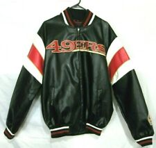 San Francisco 49ers Faux Leather Bomber Jacket Embroidered 1988 Vintage RARE!