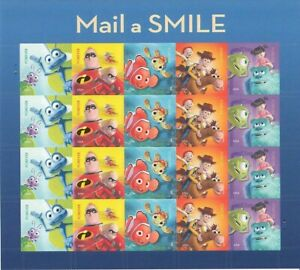 Disney Pixar Mail a Smile Sheet of 20 Forever Postage Stamps Scott 4681