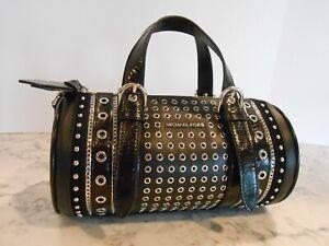 New MICHAEL KORS Mini EMBELLISHED EW BARREL Leather Crossbody $358 BLACK