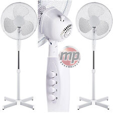 "2 x Daewoo 16"" Electric Portable Air Cooling Floor Standing Pedestal Fan - WHITE"