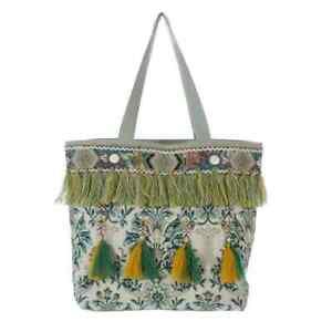 Tasche, Strandtasche Einkauftasche Ethno Orient Ibiza bestickt, Blanc Mariclo