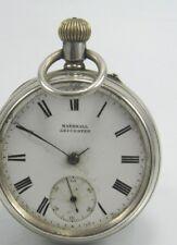 Antico Marshall .925 Argento Sterling Con Montante CORONA Vento Orologio da taschino Chester 1908