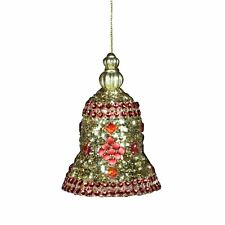 Red And Gold Glitter Bell Christmas Tree Decoration