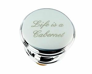 Roberts & Dore - Silver Plated Bottle Stopper - Life Is A Cabernet - Gift Boxed
