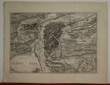 PRAGUE CZECH REPUBLIC 1840 A. H. PAYNE ANTIQUE ORIGINAL STEEL ENGRAVED CITY MAP