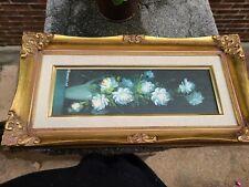 "Vintage Original Floral Oil Painting Signed Robert Cox 1934- 2001. 16x8"" gilt"