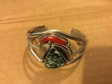 Cuff Bracelet By: marge Begay Navajo Turquoise Coral Sterling Silver Large