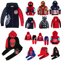 Kids Boys Superhero Spiderman Hoodie Sweatshirt Coat Jacket Tracksuit Clothes