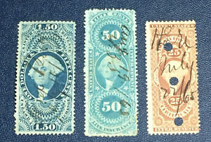 3 US REVENUE STAMPS R44 R58 R78 USED MANUSCRIPT PUNCH CANCELLATIONS (1J)