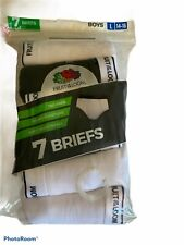 Fruit of the Loom 7 Pack Boys Size L (14-16) White Cotton Briefs Underwear NEW