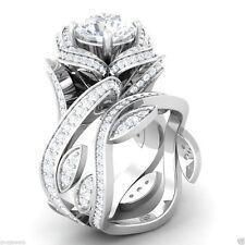 2.50 Ct Sim Diamond Flower Lotus 14K White Gold Fn Engagement Wedding Ring Set