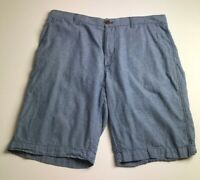 J. Crew Men's Flat Front Casual Shorts 36 Blue White Stripes Zipper Fly Pockets