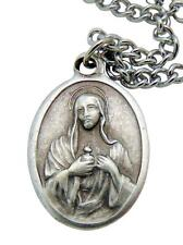 """Immaculate Heart of Mary Medal 3/4"""" w/ Stainless Steel Chain from Italy"""