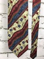 """Jos A Bank Corporate Collection Yellow Blue Floral Extra Long 100% Silk Tie 61"""""""