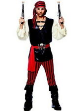 Pirate Man Costume 4 Pc Red & Black Pants Shirt Skull Belt & Headscarf XL