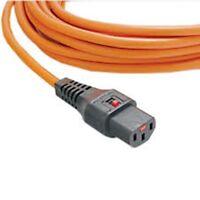 Power Extension Cable IEC C14 Male Plug to IEC C13 Female Lock Orange 5m metres