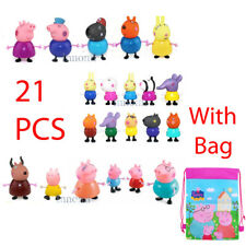 21 PCS Peppa Pig Family Friends Teacher Figure Set Toy Set with Drawstring Bag
