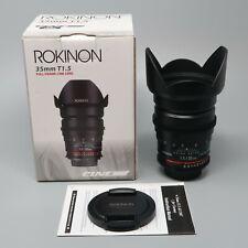 Rokinon 35mm T1.5 Cine Lens for Nikon F - Excellent Condition