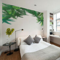 HB- FT- Green Palm Leaves Wall Sticker Mural Decal Home Hotel Removable Decor Ey
