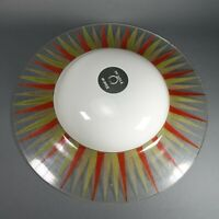 "Vintage MCM Glass UFO Saucer Sun Pattern 20"" Disc 2 Light Ceiling Fixture Lamp"