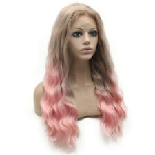 Long Wavy Synthetic Lace Front Blonde Pink Ombre Cosplay Heat Resistant Wig