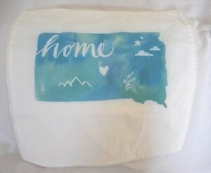 "Pottery Barn Teen Home State South Dakota Pillow Cover 16"" Square NLA NWOT"