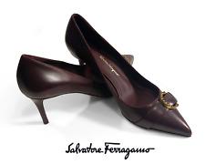 NIB Salvatore Ferragamo Airola Burgundy Leather Women 9 US High Heels