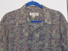 Tori Richard Navy Patterned Cotton Lawn Hawaiian Shirt- Mens Size XL