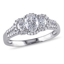 Amour 1 CT TW Oval 3-Stone Diamond Engagement Ring in 14k White Gold