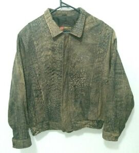 Hint Vintage Leather Jacket Size L Brown Long Sleeve Zip-Up Mens Made In Aus