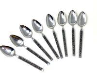 """8 Vintage Mid Century Japan Stainless Steel Spoons Black Scroll Pattern 7 3/8"""""""