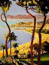 Imprimé Poster publicité travel TOURISM CANNES COTE D'AZUR FRANCE plage mer nofl0520