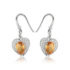 Love Heart  2.4ct Genuine Citrine Halo Dangle Earrings 925 Sterling Silver