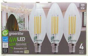 💡 Lot of 12 Greenlite Dimmable Candelabra LED Light Bulbs 4W=40W B10 Chandelier