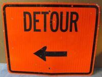 Vtg/Used Orange Construction Chicago Street Sign DETOUR 30 x 24 Man Cave S565