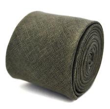 Frederick Thomas 100% Lino Caqui Verde Para Hombre Corbata Delgada con textura de color FT2041