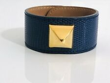 Authentic Hermes Blue Lizard Leather Medor Bracelet