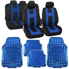 Black/Blue Sport Stripe Seat Covers Full Set w/ Shiny Metallic Blue Floor Mats