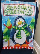NEW HOLIDAY CHRISTMAS SEASONS GREETINGS PENGUIN LARGE PORCH FLAG 28X40