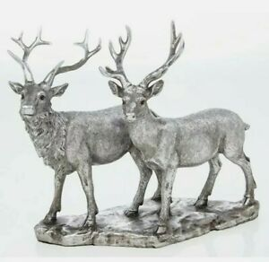 Reflections silver Large  Resin  Stag And Deer Ornament Figure Boxed lp46602