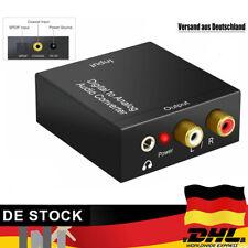 Digital Optisch Toslink Koaxial auf Analog L/R RCA Audio Konverter Adapter Kabel