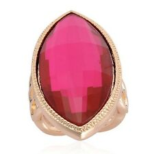 Red Glass Statement Ring In Rose Gold Tone Size K, L or M