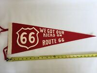 40's & 50's era Route 66 vintage felt pennant Red & White