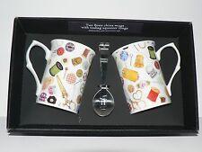 Sewing Mug & teabag squeezer. China mug with stainless teabag tongs - options